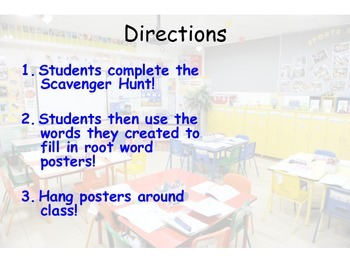 Root Word scavenger hunt and posters!