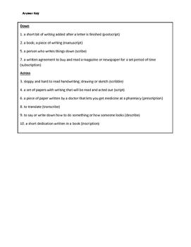 Root Word: scrib- & script- Crossword Puzzle