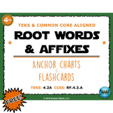 Root Words & Affixes Anchor Charts & Flashcards FREEBIE