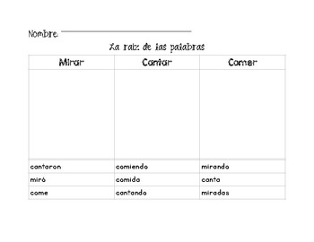 Root Words Cut and Sort in Spanish