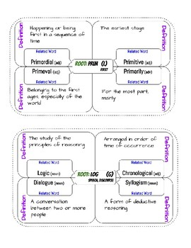 Root Words Graphic Organizers