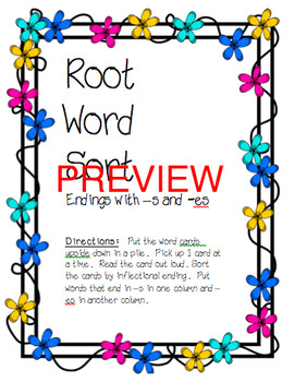 Root Words (Inflectional Endings) Sort -s, -es