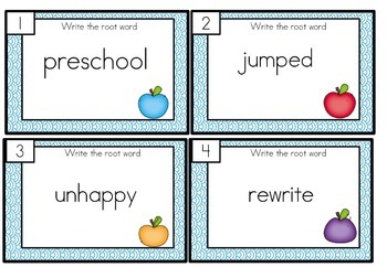 Root Words, Prefix and Suffix Task Cards Differentiated