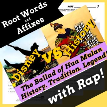 Root Words Prefixes and Suffixes Worksheets with Passage Using Mulan Rap  Song