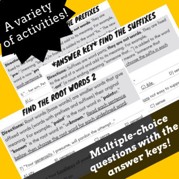 Root Words Prefixes Suffixes Worksheets & Activities, Reading Passages Bundle #1