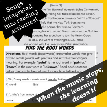 Root Words Prefixes and Suffixes Worksheets with Passages Using Songs Bundle #1