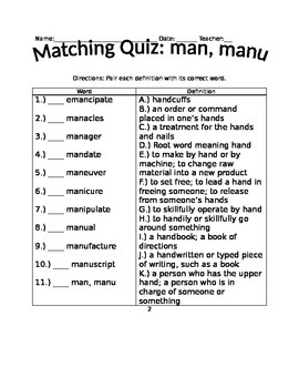 Root Words Quiz