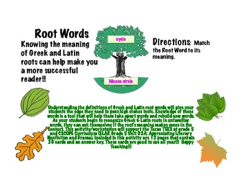 Root Words! They will make your students more successful on tests!