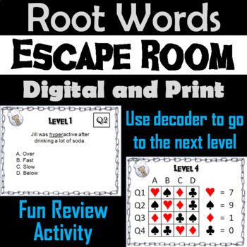 Root Words Escape Room - ELA (Vocabulary Game)