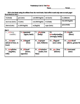 Root Words Vocabulary Packet, Unit 2