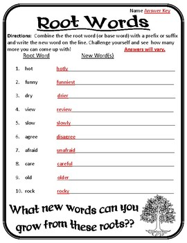 Root Words Worksheet Root Words, Prefixes, and Suffixes Worksheet Roots #3