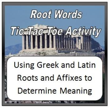 Root Words and Affixes BINGO/Tic Tac Toe Activity:  Ten Di