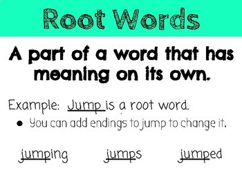 Root Words and Inflected Endings Posters - ing, ed, s/es