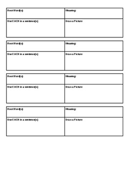 Root Words or Vocabulary Organizer