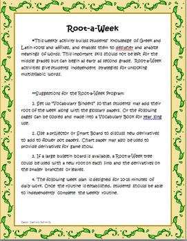 Root-a-Week 52 Root Words to Cultivate Your Word Garden-Extend Vocabulary
