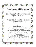 Root and Affix Work: Menu for upper elementary and middle school students