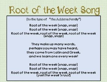 Root of the Week Classroom Display