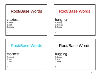 Root or Base Words Task Cards