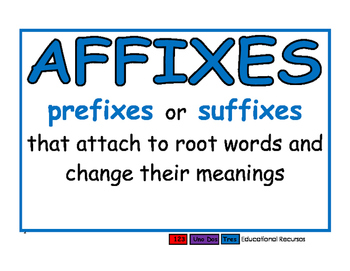 Root words/Affixes/Prefixes/Suffixes blue