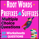 Root words | Suffixes & Prefixes | Test Pack | 200 Questions | Grade 7 - 8