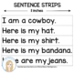 Rootin', Tootin' Cowboy Sentence Strips and Pocketchart Pictures Printables