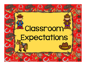Rootin', Tootin' Cowboy Themed Classroom Rules Posters