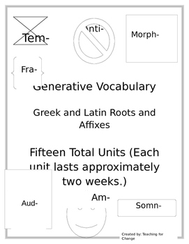 Roots & Affix Units - Generative Vocabulary Pre-Tests, Post-Tests, & Activities