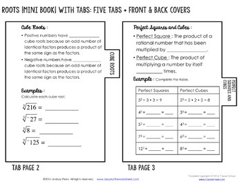 Roots Mini Tabbed Flip Book for 8th Grade Math