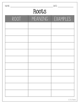 Roots, Prefixes, and Suffixes FREEBIE! Note Recording Sheets