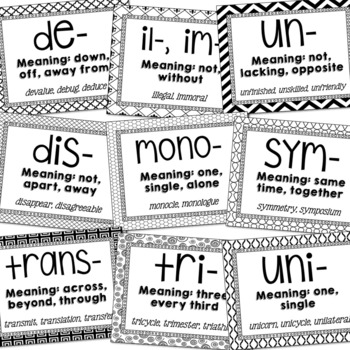 Greek and Latin Roots, Prefixes, & Suffixes Vocabulary Posters {EDITABLE}