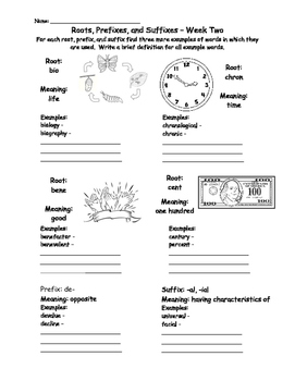 Roots, Prefixes, and Suffixes Worksheets