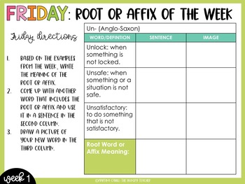 Root Words and Affixes ELA Bell Ringers for Middle School and Upper Elementary