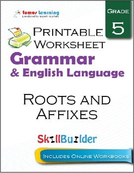 Roots and Affixes Printable Worksheet, Grade 5