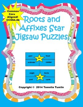 Roots and Affixes Star Jigsaw Puzzle (Common Core Aligned)