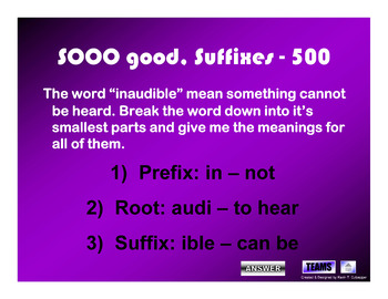 Roots and Affixes Worksheet and Jeopardy Game