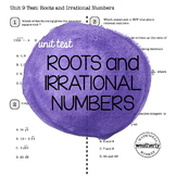 ROOTS and IRRATIONAL NUMBERS Unit Test CC Algebra 1