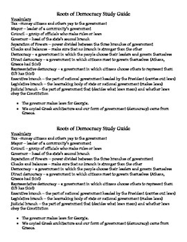 Roots of Democracy (US Government) Test and Study guide