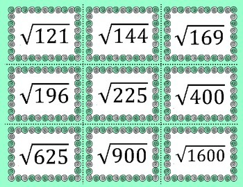 Roots of Perfect Squares Matching Activity