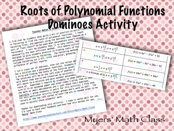 Roots of Polynomial Functions - Dominoes Activity