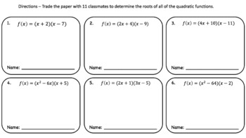Roots of Quadratic Equations – Pass the Paper Cooperative Learning Activity!