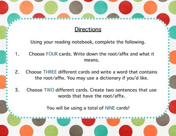 Roots/Affixes Cards- Center Station