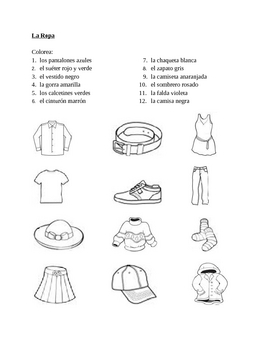 Ropa (Clothing in Spanish) Colorea Worksheet 1