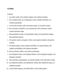 Ropa (Clothing in Spanish) Colorea Worksheet 2
