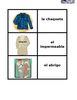 Ropa (Clothing in Spanish) Concentration games