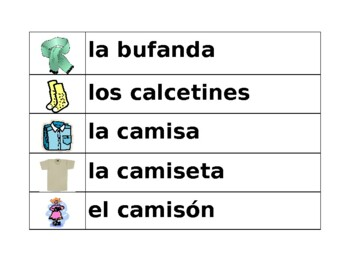 Ropa (Clothing in Spanish) word wall