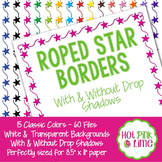 Roped Stars Borders in 15 Colors with Drop Shadow Option by Hot Pink Lime