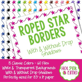 Roped Stars Borders in 15 Colors with Drop Shadow Option b