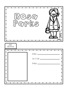 Rosa Park Biography Writing Tab Book