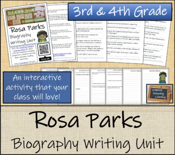 Rosa Parks - 3rd & 4th Grade Biography Writing Activity