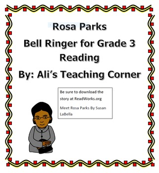 Rosa Parks- 3rd Grade Reading bellringer